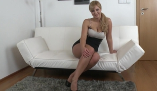 Natural titted Nathaly widening her legs for us
