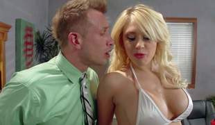 Big boobed stripper Kagney Linn Karter in white bikini turns man at bottom to the point of no return and handles his hard shlong like a pro. She licks and sucks his rock solid shlong before he sticks it in will not hear of tight pornstar twat