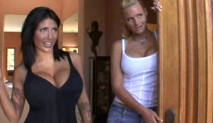 Horny housewives get done in front of their husbands